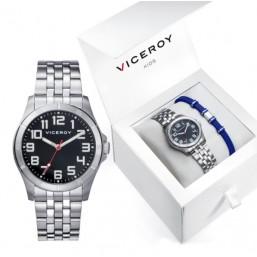 Viceroy reloj de niño en acero con pulsera de caucho de regalo.