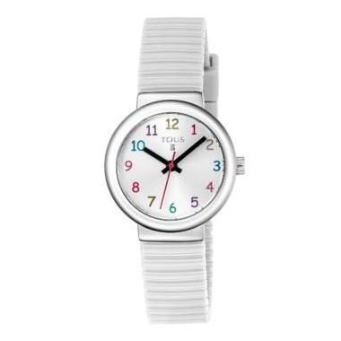 """Tous reloj de niña """"Rainbow"""" en silicona blanca."""