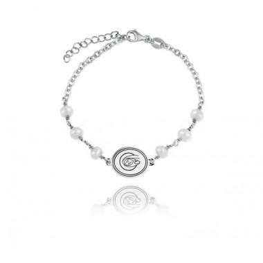 Verutia pulsera de niña en plata y perlas cultivadas.