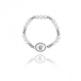Verutia pulsera elástica de niña en plata y perlas cultivadas.