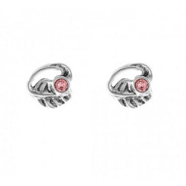 """Uno de 50 pendientes de mujer """"Hojas"""" piedra rosa."""