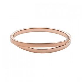 Skagen pulsera rígida de mujer ELIN en acero rosa.