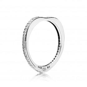 "Pandora anillo de mujer ""Arco de Amor Brillante"" en plata."