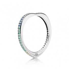 """Pandora anillo de mujer """"Arco de Amor Multicolor"""" en plata."""