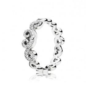 """Pandora anillo de mujer """"Remolinos de Corazón"""" en plata."""