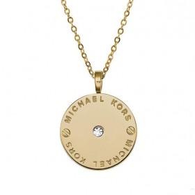 Michael Kors collar de mujer Logo Disc en acero dorado.