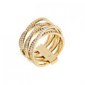 Michael Kors anillo de mujer en acero dorado.