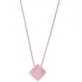 Michael Kors collar de mujer de acero con cuarzo rosa.