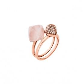 Michael Kors anillo doble de mujer en acero rosa.
