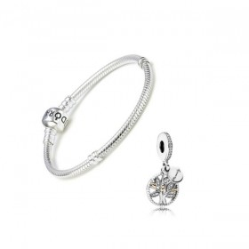 "Pandora Gift Set pulsera Moments y charm colgante Locket ""Árbol Familiar"""