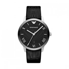 Emporio Armani reloj de caballero en piel negra.