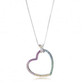 """Pandora collar de mujer """"Corazón Multicolor"""" en plata."""