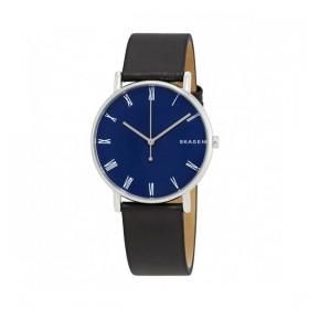 Skagen Signatur reloj de caballero en piel negra.