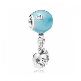 """Pandora charm colgante """"Elefante y Globo Azul"""" en plata."""