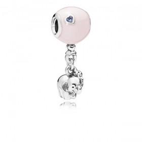 """Pandora charm colgante """"Elefante y Globo Rosa"""" en plata."""
