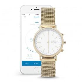 Skagen Hald Connected Hybrid reloj de mujer en acero dorado.