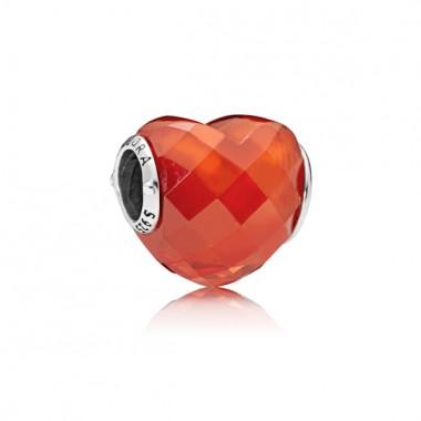"Pandora charm de pulsera ""Forma de Amor Naranja"" en plata."