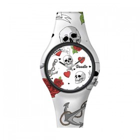 Doodle Hearts and Skulls reloj unisex