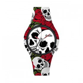 Doodle Roses and Skulls reloj unisex