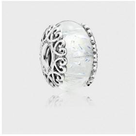 Pandora charm Murano blanco iridiscente