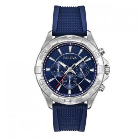 Bulova reloj cronógrafo de caballero en silicona azul.