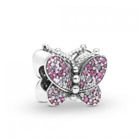 "Pandora ""Mariposa Rosa Deslumbrante"" charm de pulsera"