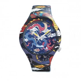 Doodle Dragon Figther reloj de hombre en silicona