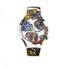 Doodle White Skull reloj de silicona