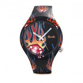 Doodle Flaming dice reloj de hombre en silicona