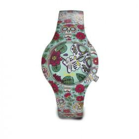 Doodle Sugar Skull reloj de mujer en silicona