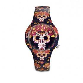 Doodle Calavera Crown reloj de mujer en silicona