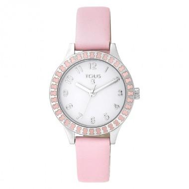 Tous Straight reloj de niña en piel rosa