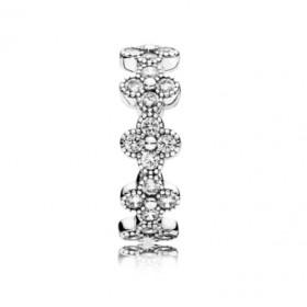 Pandora anillo Flor Oriental en plata y circonitas transparentes