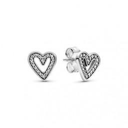 Pandora pendientes Corazones Brillantes en plata