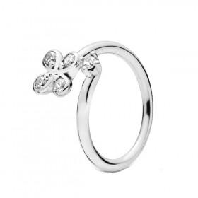 Pandora anillo abierto Flor Cuatro Pétalos en plata