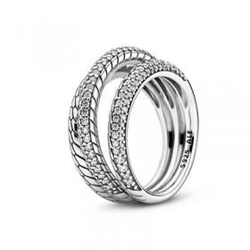 Pandora anillo Triple diseño Cadena de Serpiente