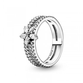 Pandora anillo doble Copo de Nieve Brillante
