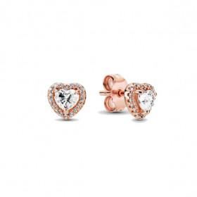 Pandora rose pendientes Corazones Brillantes Elevados