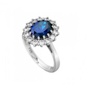 DiamonFire anillo de plata con circonita azul.