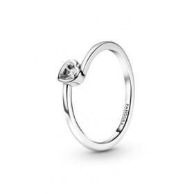 Pandora anillo Corazón Solitario Transparente Inclinado