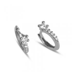Pendientes de aro en oro blanco y diamantes