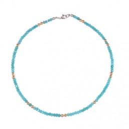 Gargantilla en acero y piedras naturales en color azul