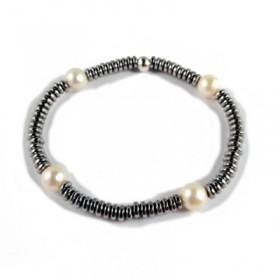 Pulsera elástica de metal galvanizado gris con perlas
