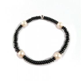 Pulsera elástica de metal galvanizado negro con perlas