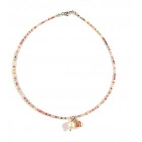 Gargantilla con perla y espinelas de colores