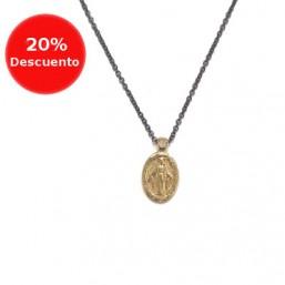 Gargantilla de la Inmaculada en acero y oro
