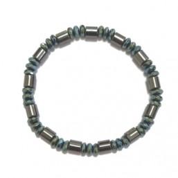 Pulsera elástica Unisex de metal galvanizado gris y azul