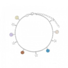 Tobillera Estrellas en plata con cristales de colores