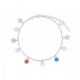 Tobillera Corazones en plata con cristales de colores