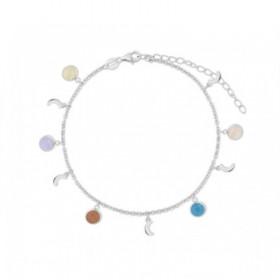 Tobillera Lunas en plata con cristales de colores